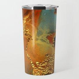 Abstract Gold and Blue Hues Glitter Paint Texture Travel Mug