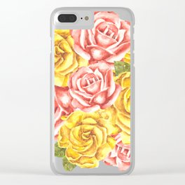 Pretty Watercolor Flowers Clear iPhone Case