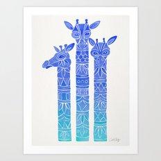 Giraffes – Blue Ombré Art Print