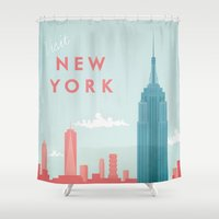 new york Shower Curtains featuring New York New York by Travel Poster Co.