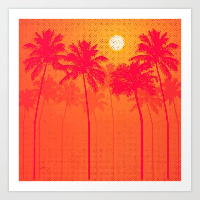 palm trees pink orange yellow halftone art print by erinmorris