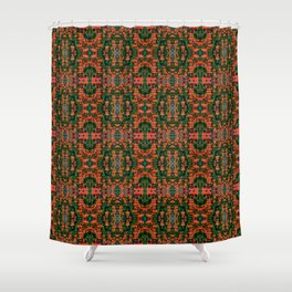 Floral Repeating Pattern - Green and Orange Shower Curtain