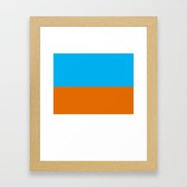 Square Tri-Color [Blue, Orange, White] Framed Art Print
