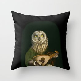 Renaissance Owl Playing His Lute Throw Pillow