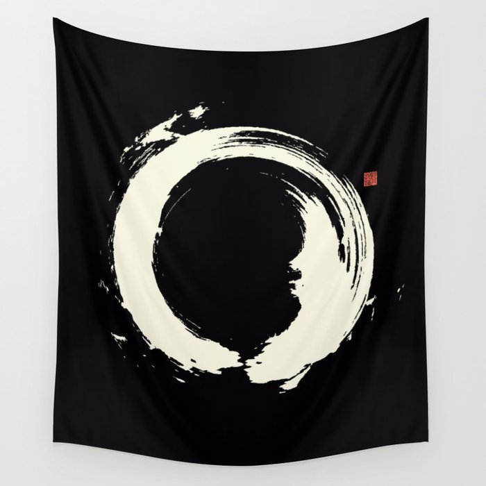 Black Enso / Japanese Zen Circle Wall Tapestry By