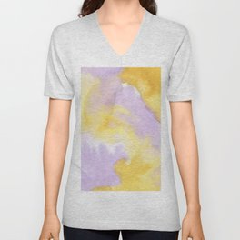 Lilac lavender sunflower yellow abstract watercolor Unisex V-Neck