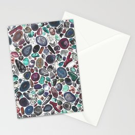 MIXED GEMSTONES ON WHITE Stationery Cards
