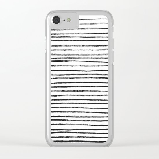 Black Brush Lines on White Clear iPhone Case