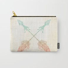 Tribal Arrows Turquoise Coral Gradient Carry-All Pouch