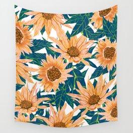 Blush Sunflowers Wall Tapestry