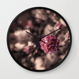 Sweetness mini carnations in pink antiqued look Wall Clock