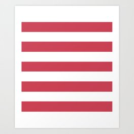 Brick red - solid color - white stripes pattern Art Print