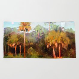 Moonrise over the Palms Beach Towel