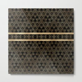 Elegant Black Gold Pattern Design Metal Print