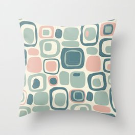 Handdrawn Geometric Shapes Midcentury Modern Throw Pillow