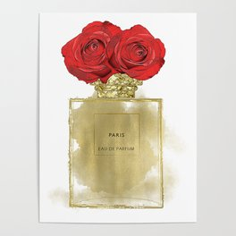 Red Roses & Fashion Perfume Bottle Poster