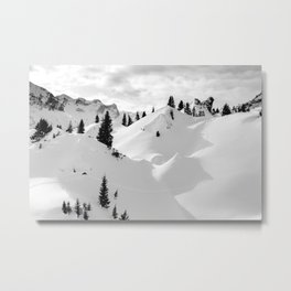 Beautiful Alps mountain lanscape fir trees and rocks under snow Metal Print