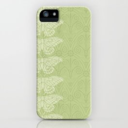 Insectology:  Butterfly Green Botanical Stencil Print iPhone Case