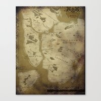 westeros Canvas Prints featuring Fantasy Map of New York: Dirty Parchment by Midgard Maps