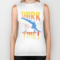 shark Biker Tanks featuring Shark by Silver Larrosa