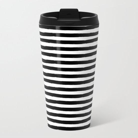 Black And White Hand Drawn Horizontal Stripes Metal Travel Mug