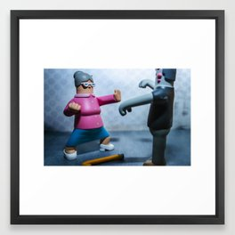 Grandma vs Zombie Framed Art Print