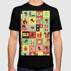 Christmas Geometric Pattern No. 2. MEDIUM Black Mens Fitted Tee