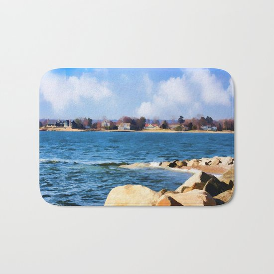 New England Shoreline - Painterly Bath Mat
