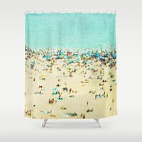 blur Shower Curtains featuring Coney Island Beach by Mina Teslaru