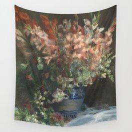 Gladioli in a Vase by Renoir Wall Tapestry