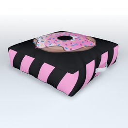 Pink Donut on Black Outdoor Floor Cushion