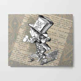 Mad Hatter and Tea Cup Metal Print
