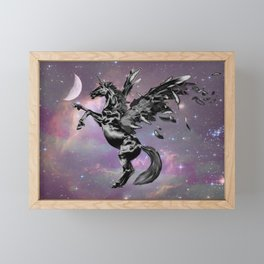 Black Unicorn Pegasus Fairy Horse Fantasy Art A545 Framed Mini Art Print