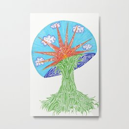 Sunrise Mushroom Metal Print
