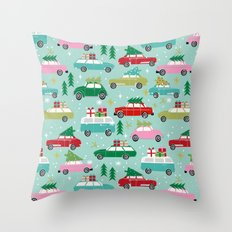 Vintage Christmas cars festive holiday traditions snow winter snowflakes classic car pattern Throw Pillow