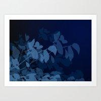 Blue Leaves Art Print