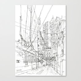 Shanghai. China. Yard full of wires Canvas Print