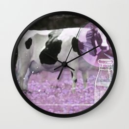 Milk comes from a bottle Wall Clock