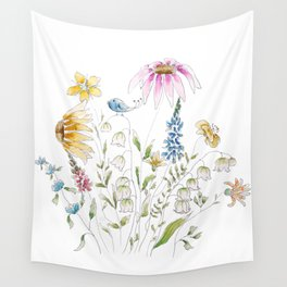 wild flowers and blue bird _ink and watercolor 1 Wall Tapestry