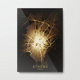 athens city night light map Metal Print