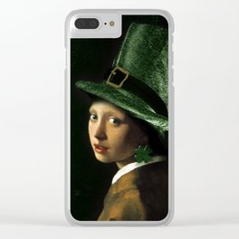 Girl With A Clover Earring Clear iPhone Case