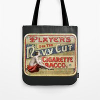 smoking Tote Bags featuring Smoking by mentalembellisher