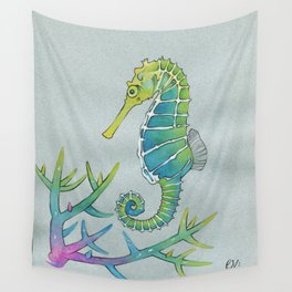Neon Seahorse Wall Tapestry