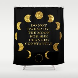Moon Phases Gold Shower Curtain