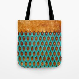 Copper Metal Foil and Aqua Mermaid Scales- Abstract glitter pattern Tote Bag