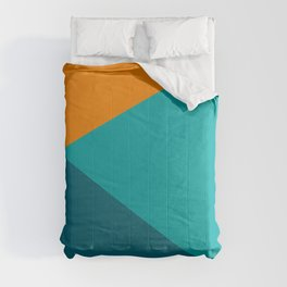 Jag - Minimalist Angled Geometric Color Block in Orange, Teal, and Turquoise Comforters
