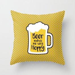 Beer Makes Me Hoppy Throw Pillow