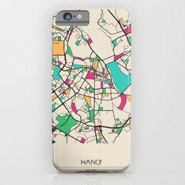 Colorful City Maps: Hanoi, Vietnam iPhone Case