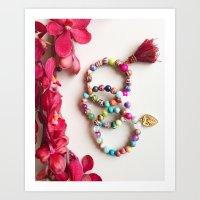 Red tassel charm beaded bracelets by Quest Stones Art Print