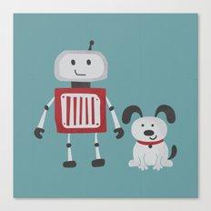 Best Friends - Robot and Dog Canvas Print